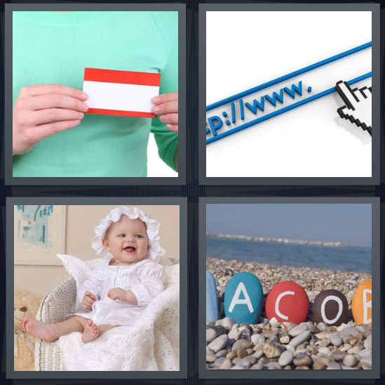 4 Pics 1 Word Answer 4 letters for tag on shirt, web address in browser, baby in crib, stony beach