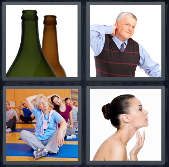 4 Pics 1 Word Answer 4 letters for green and brown bottles, man with ache, people stretch at yoga class, woman touching her throat