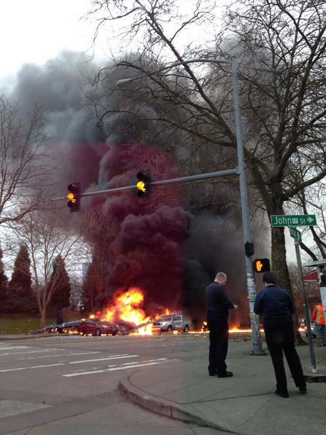 Photos of Seattle Space Needle Helicopter Crash