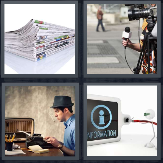 4 Pics 1 Word Answer 4 letters for stack of papers, broadcast for television, reporter with typewriter, plugging in to information