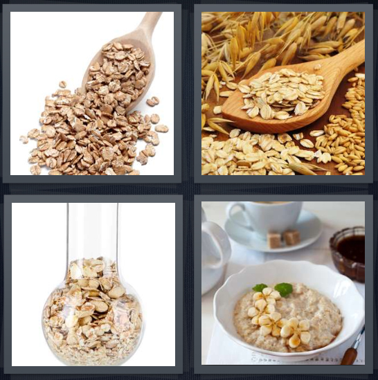 4 Pics 1 Word Answer 4 letters for grains on spoon, whole grains on wooden spoon, cereal in beaker, oatmeal for breakfast