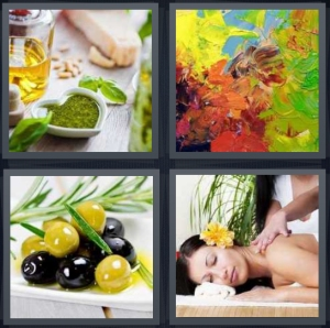 4 Pics 1 Word Answer 3 letters for cooking liquid with bowl, paint smeared on canvas, olives with rosemary sprig, woman getting massage