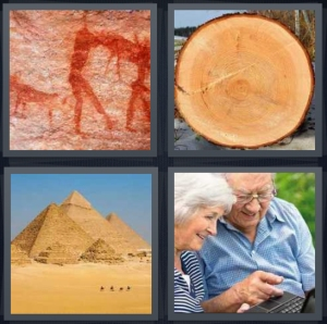 4 Pics 1 Word answers, 4 Pics 1 Word cheats, 4 Pics 1 Word 3 letters ancient cave drawings on wall, tree trunk with many rings, ancient Egyptian pyramids in desert, elderly couple with computer