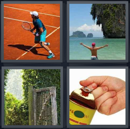 4 Pics 1 Word Answer 4 letters for tennis player on red court, person at ocean in Thailand, door with hedge, can of sauce