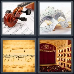 4 Pics 1 Word Answer 5 letters for violin with music, white mask with silver accents, sheet music for symphony, concert hall theater