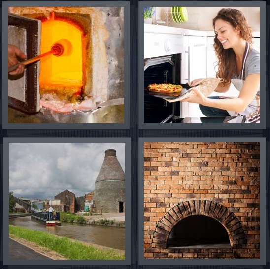 4 Pics 1 Word Answer 4 letters for fire for cooking, woman making pizza, canal with tower, brick