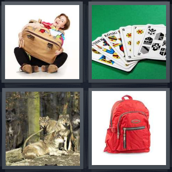 4 Pics 1 Word Answer 4 letters for woman with stuffed suitcase, playing cards in Danish, group of wolves, red backpack