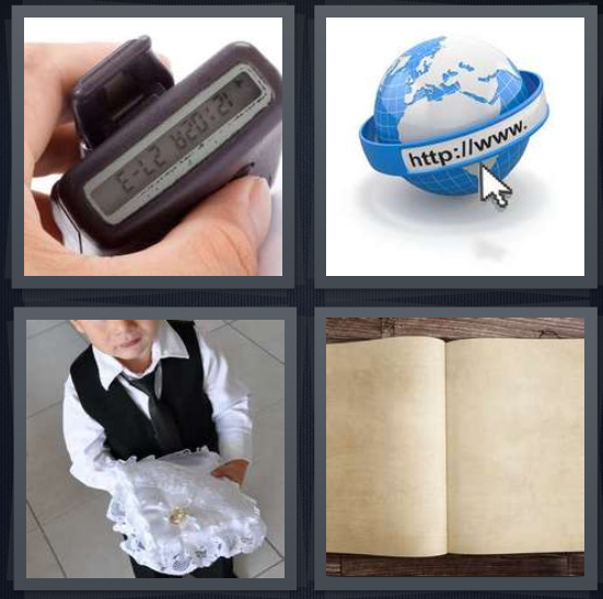4 Pics 1 Word Answer 4 letters for beeper with number incoming, Internet web address, butler with pillow, blank book on wood