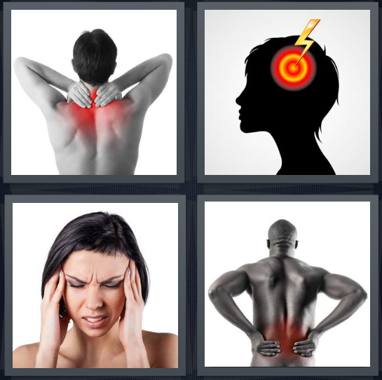 4 Pics 1 Word Answer 4 letters for man with sore shoulders, target on head, woman with headache, man massaging sore back