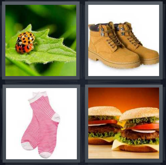 4 Pics 1 Word Answer 4 letters for ladybug on leaf, work boots, striped socks, two burgers