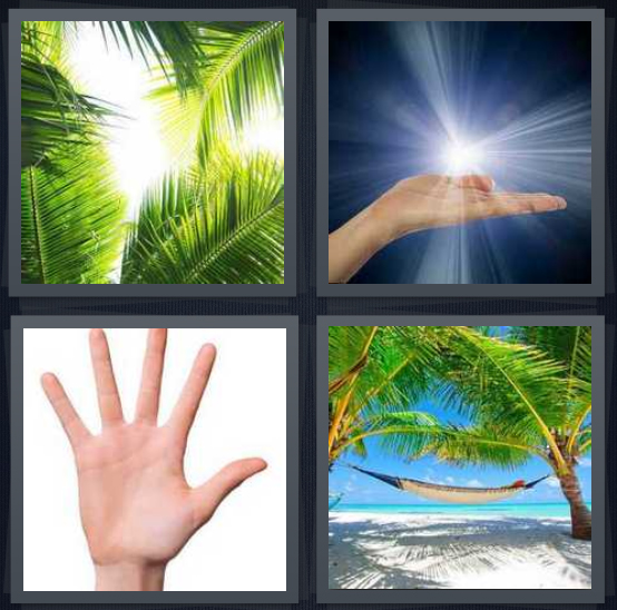 4 Pics 1 Word Answer 4 letters for tree leaves in sun, sunburst in hand on blue background, hand on white background, hammock on beach