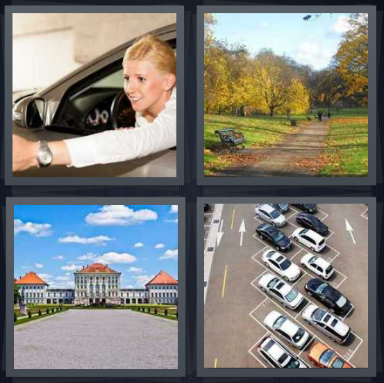 4 Pics 1 Word Answer 4 letters for woman driving car, path in public space, road to building, lot full of cars