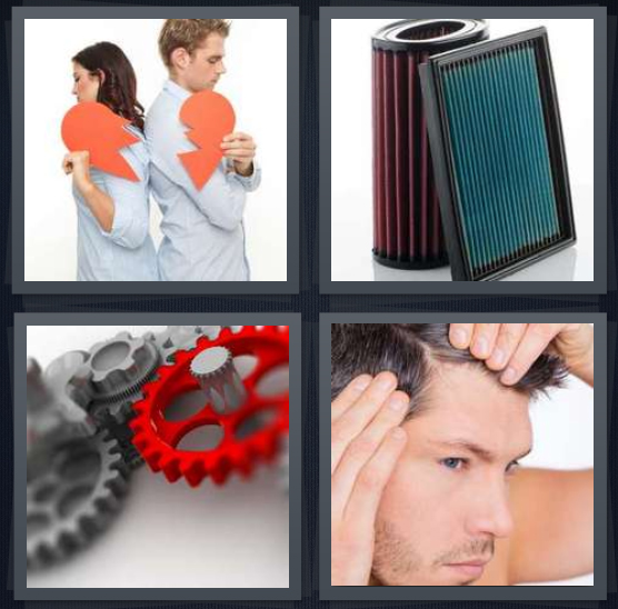4 Pics 1 Word Answer 4 letters for couple breaking up with torn hearts, filter for air conditioner, gears, man styling hair