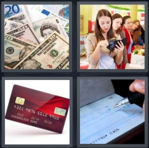 4 Pics 1 Word Answer 3 letters for money bills in pile, woman holding wallet at checkout, red credit card, person writing check
