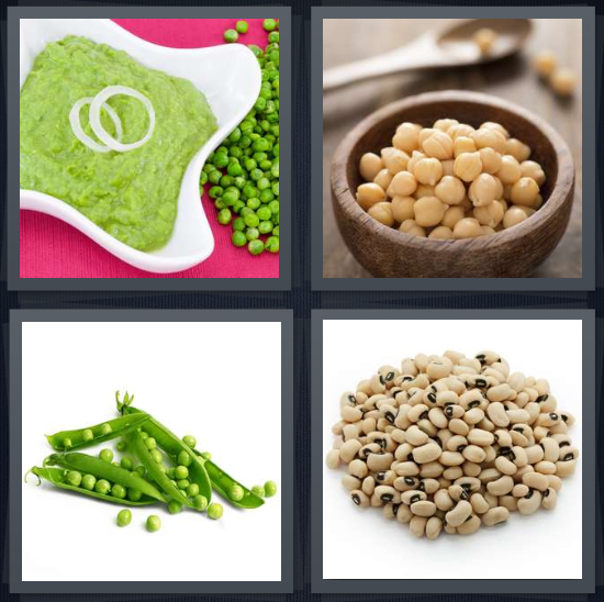4 Pics 1 Word Answer 4 letters for mashed green vegetables, chickpeas, pods of green vegetables, black eyed