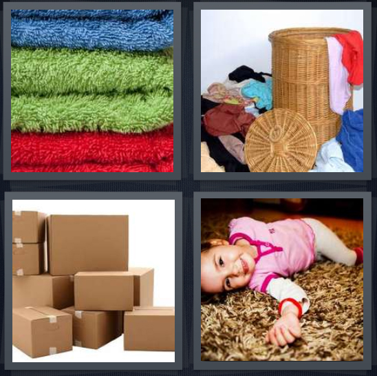 4 Pics 1 Word Answer 4 letters for colored towels in a stack, laundry mess, stack of boxes, child on ground with arm