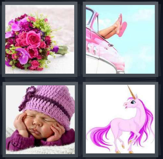 4 Pics 1 Word Answer 4 letters for bunch of purple flowers, woman wearing flip flops with legs out of car, baby in knit cap, cartoon unicorn