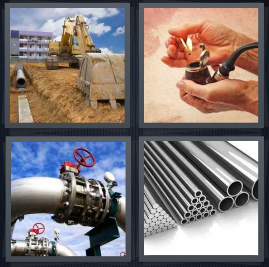 4 Pics 1 Word Answer 4 letters for sewage lines behind laid with bulldozer, man smoking, valve on tube, stack of metal tubes
