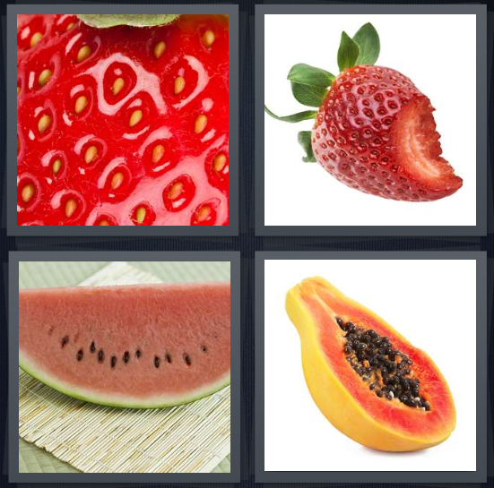 4 Pics 1 Word Answer 4 letters for seeds on red strawberry, strawberry with bite missing, watermelon with seeds, half a papaya with seeds