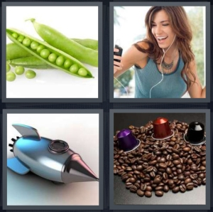 4 Pics 1 Word Answer 3 letters for peas on white background, woman listening to mp3 player, rocket drawing, coffee beans