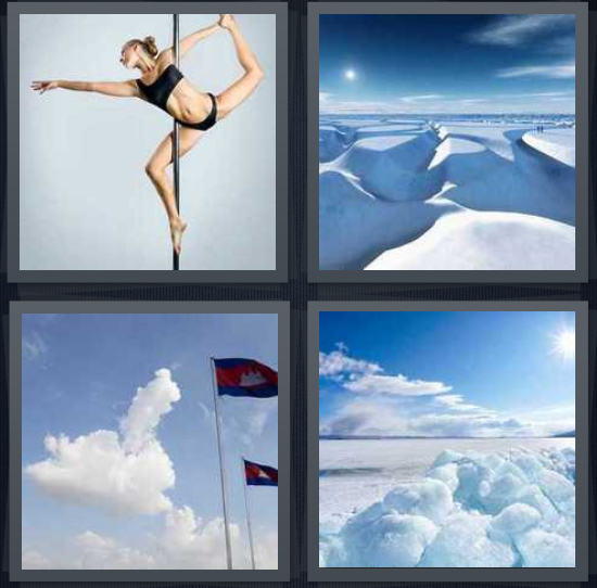 4 Pics 1 Word Answer 4 letters for woman dancing in underwear, Arctic snow, flag for Antarctica, iceberg with snow and ice