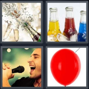 4 Pics 1 Word Answer 3 letters for champagne opening with glass flutes, soda in glass bottles, singer into microphone, red balloon with needle