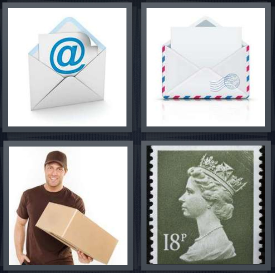 4 Pics 1 Word Answer 4 letters for email symbol, envelope with letter inside, package delivery man, English stamp with queen