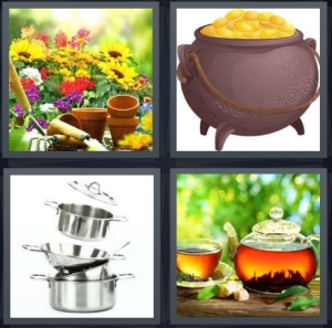 4 Pics 1 Word Answer 3 letters for flowers in garden being planted, gold at end of rainbow, silver cooking pans, sun tea outside steeping