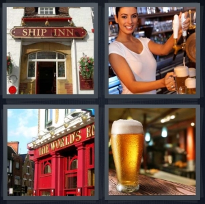 4 Pics 1 Word Answer 3 letters for Ships Inn sign entrance, bartender pouring beer, English bar on corner, pint of beer in glass