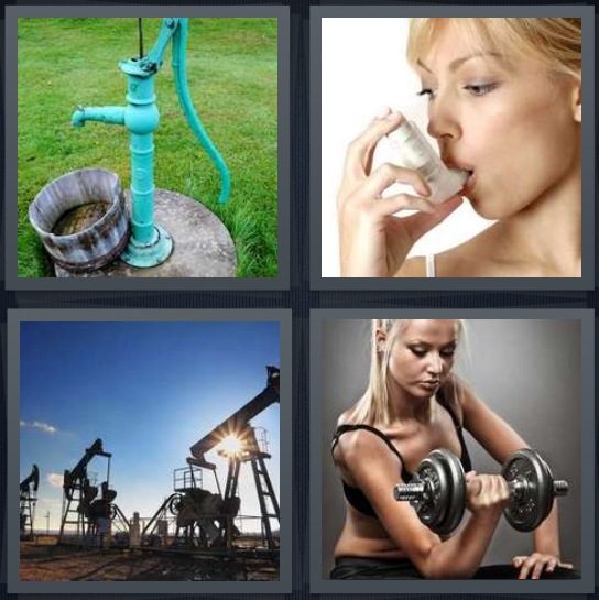 4 Pics 1 Word Answer 4 letters for water well, asthma inhaler, oil rig, woman lifting weights