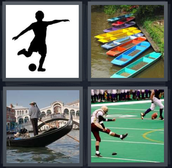 4 Pics 1 Word Answer 4 letters for shadow kicking ball, boats at dock, gondola on Venice canal, football players kicking football
