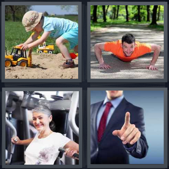4 Pics 1 Word Answer 4 letters for child playing in sandbox with toy truck, man exercising on sidewalk, woman at gym, man pointing with index finger