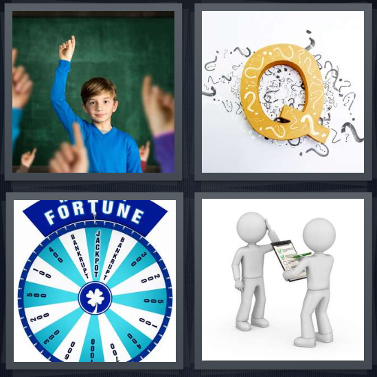 4 Pics 1 Word Answer 4 letters for boy raising hand at school, letter Q with question marks, wheel of fortune game board, figure giving test with clipboard