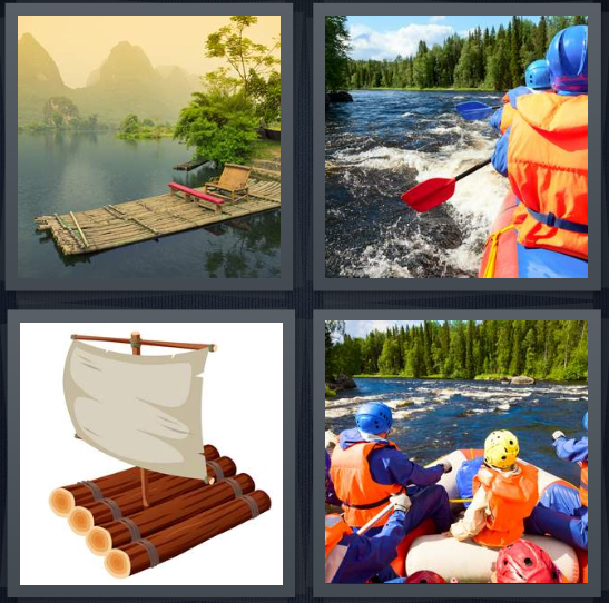 4 Pics 1 Word Answer 4 letters for river with wood boat, whitewater in boat, sail on wooden planks, extreme sports