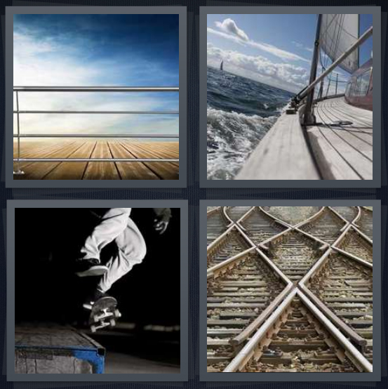 4 Pics 1 Word Answer 4 letters for edge of pier looking out to water, edge of boat, person skateboarding on handle, train tracks