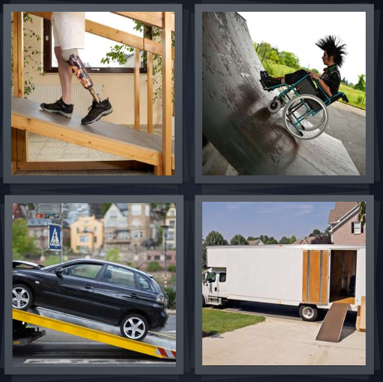 4 Pics 1 Word Answer 4 letters for man with prosthetic leg walking, punk in wheelchair looking at half pipe, car being loaded onto truck, moving truck