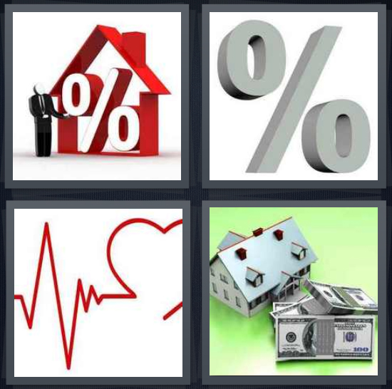4 Pics 1 Word Answer 4 letters for mortgage symbol in red house, gray percentage symbol, heartbeat drawing, house for sale
