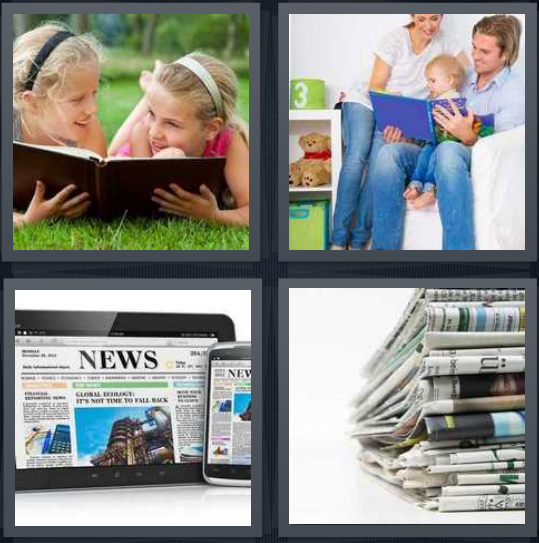 4 Pics 1 Word Answer 4 letters for girls with book on grass, family with baby book, news on electronic device, newspapers