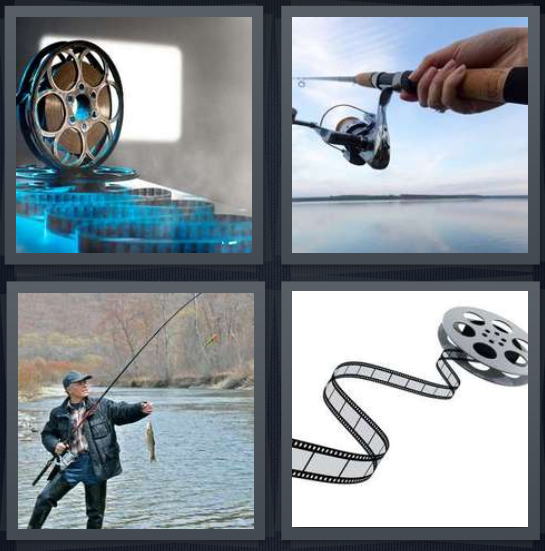 4 Pics 1 Word Answer 4 letters for film stacks, fishing rod in man's hand, man fishing caught fish, analog movie