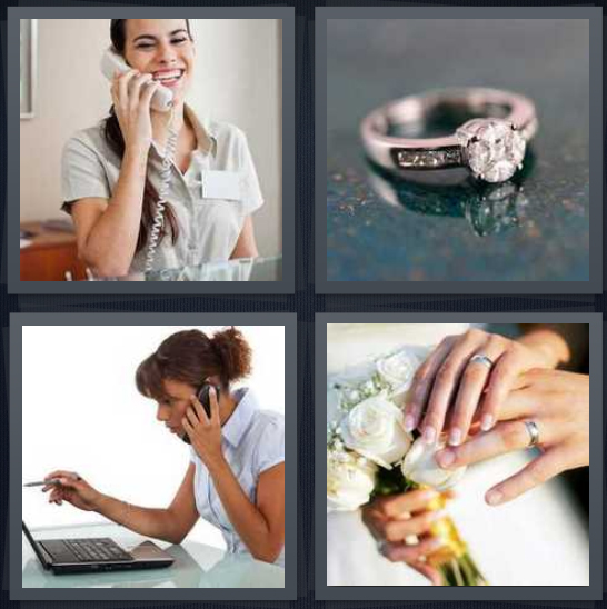 4 Pics 1 Word Answer 4 letters for woman on telephone, engagement diamond, woman booking on computer, wedding hands with flowers
