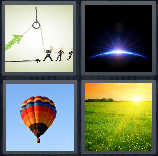 4 Pics 1 Word Answer 4 letters for drawing of people with pulley, moon in space, hot air balloon in sky, sun over field in morning