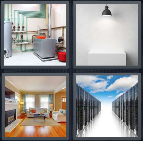 4 Pics 1 Word Answer 4 letters for boiler water heater, interrogation platform, den with couches and wood floor, hallway with storage lockers in cloud
