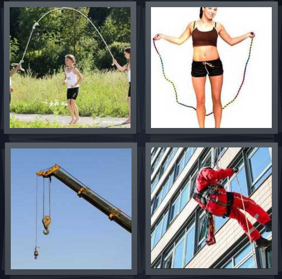 4 Pics 1 Word Answer 4 letters for kids playing jump, woman exercising, pulley from crane, window washer in red on side of building