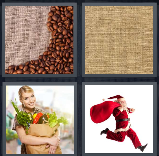 4 Pics 1 Word Answer 4 letters for coffee beans on burlap background, burlap for bag, woman carrying back of groceries, Santa Claus with bag of presents