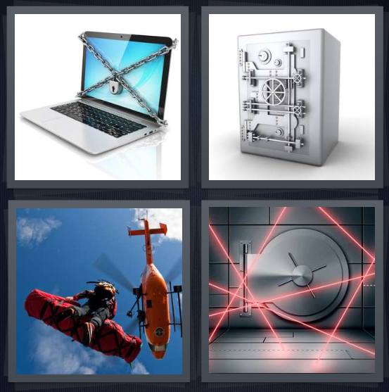 4 Pics 1 Word Answer 4 letters for cyber security computer with chain, locked box, helicopter rescue, laser security