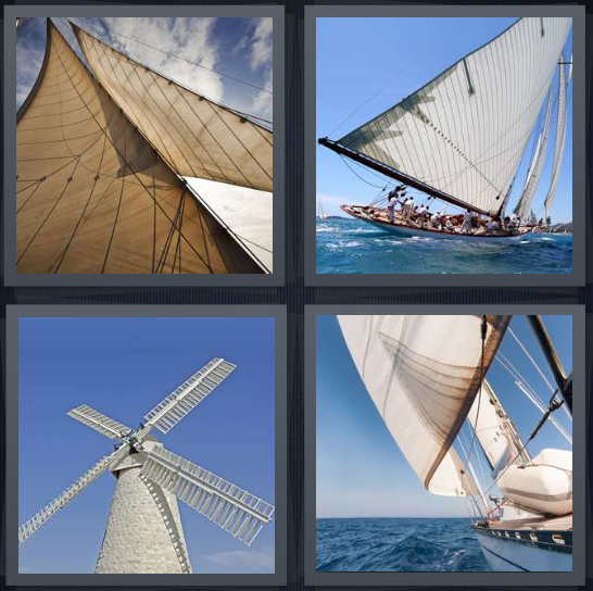 4 Pics 1 Word Answer 4 letters for mast with cloth on ship, boat with people in harbor, windmill painted white, side of ship in water