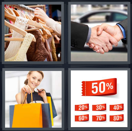 4 Pics 1 Word Answer 4 letters for rack with clothes at store, handshake, woman with shopping bags, tags with percentages
