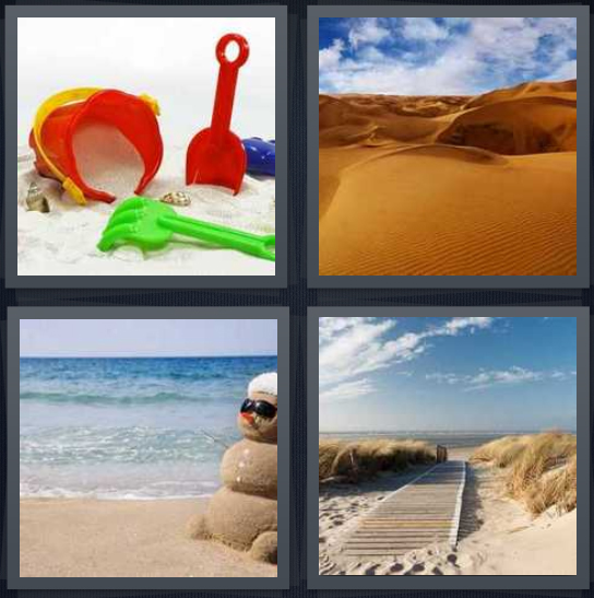 4 Pics 1 Word Answer 4 letters for beach toys on beach, desert with blue sky background, ocean with beach, dock on beach and sky