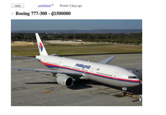 malaysian plane craigslist