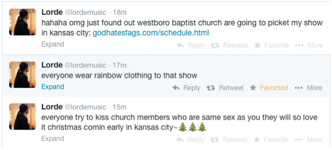 Lorde Westboro Twitter Tweet